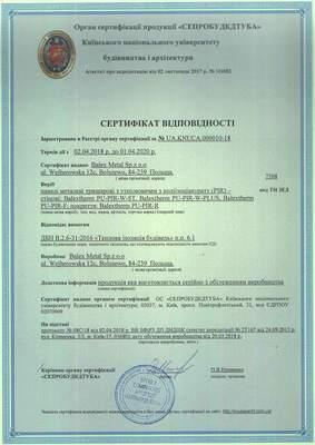 Сертификат PIR панели